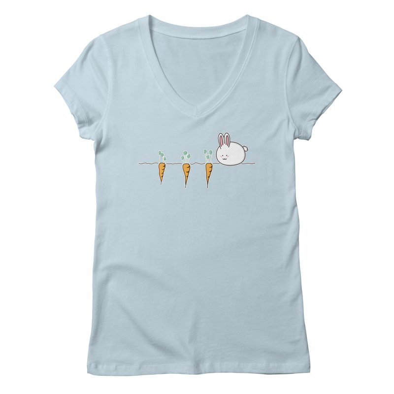 Cute Kawaii Rabbit and Carrots Women's V-Neck by Flaming Imp's Artist Shop