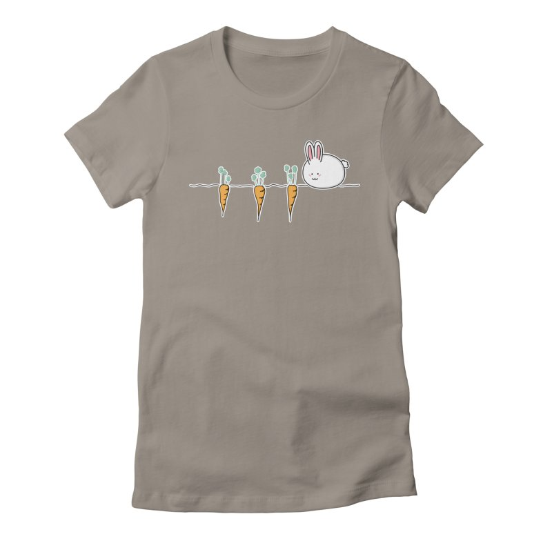 Cute Kawaii Rabbit and Carrots Women's Fitted T-Shirt by Flaming Imp's Artist Shop