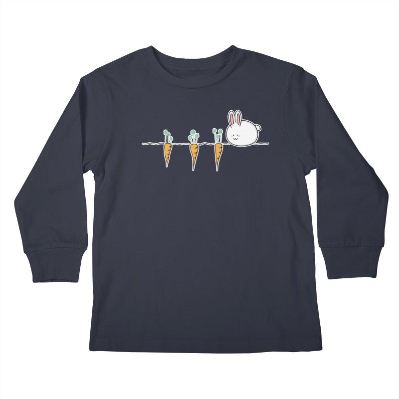 Cute Kawaii Rabbit and Carrots Kids Longsleeve T-Shirt by Flaming Imp's Artist Shop