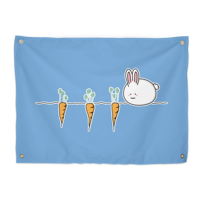 Cute Kawaii Rabbit and Carrots Home Tapestry by Flaming Imp's Artist Shop