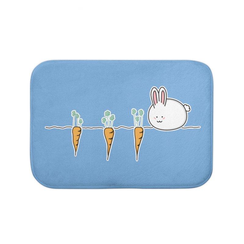 Cute Kawaii Rabbit and Carrots Home Bath Mat by Flaming Imp's Artist Shop