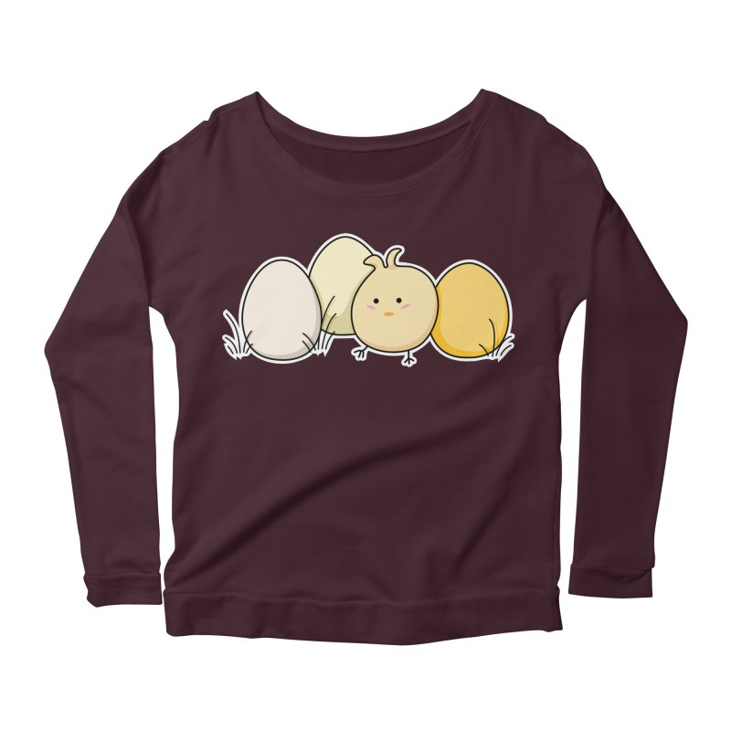 Cute Kawaii Easter Chick and Eggs Women's Longsleeve Scoopneck  by Flaming Imp's Artist Shop