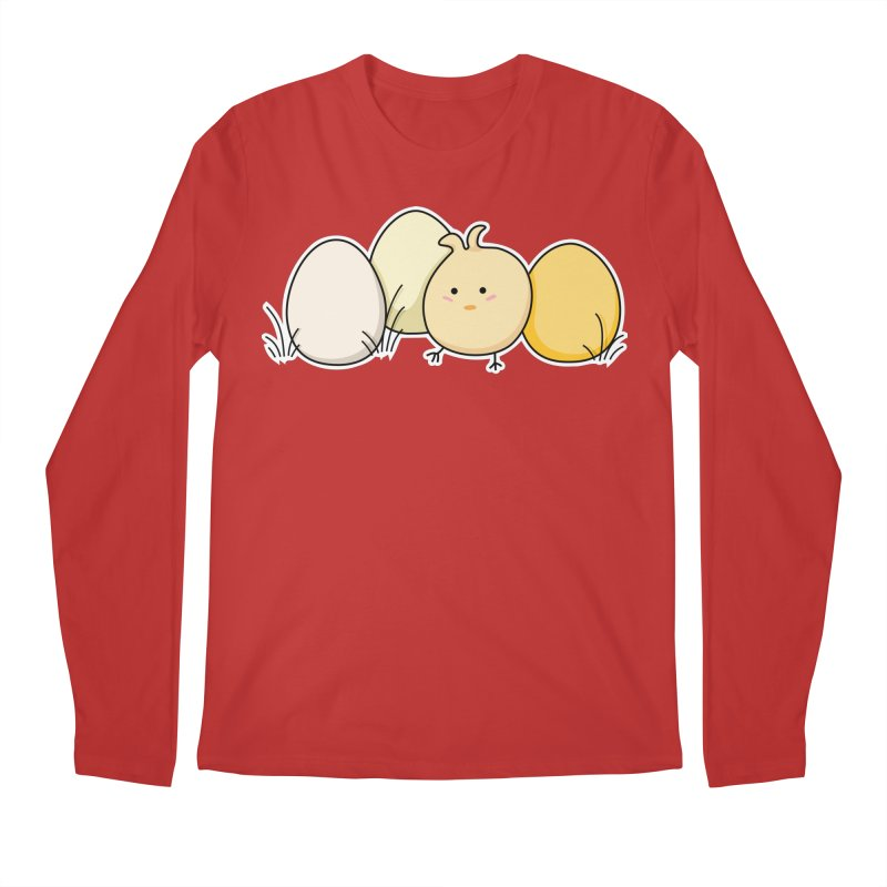 Cute Kawaii Easter Chick and Eggs Men's Longsleeve T-Shirt by Flaming Imp's Artist Shop