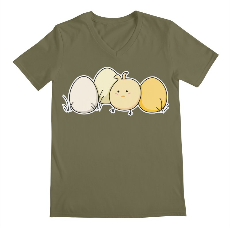 Cute Kawaii Easter Chick and Eggs Men's V-Neck by Flaming Imp's Artist Shop