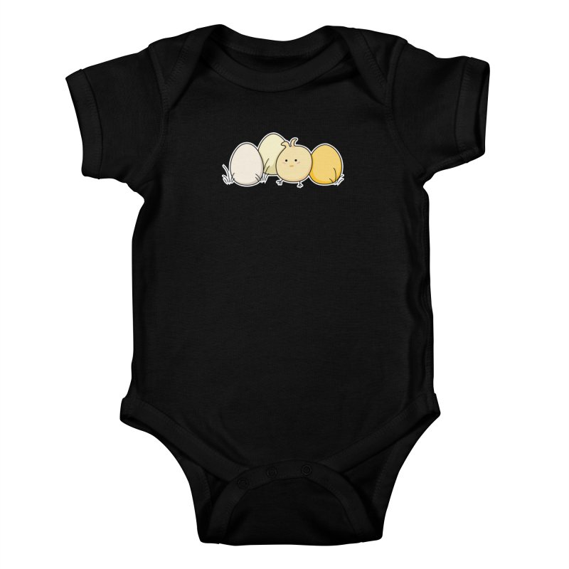 Cute Kawaii Easter Chick and Eggs Kids Baby Bodysuit by Flaming Imp's Artist Shop