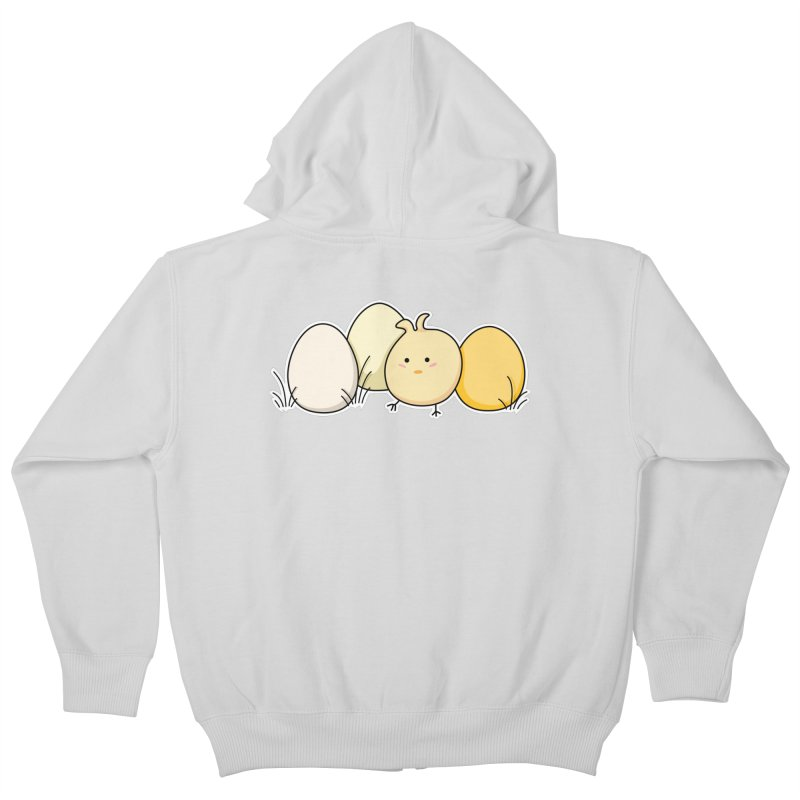 Cute Kawaii Easter Chick and Eggs Kids Zip-Up Hoody by Flaming Imp's Artist Shop