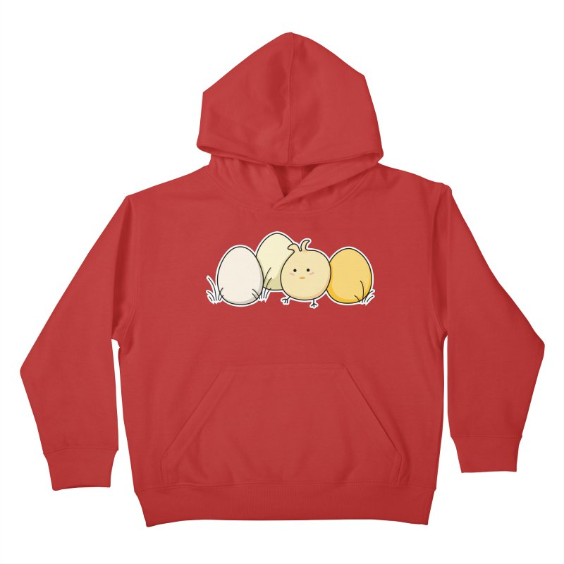 Cute Kawaii Easter Chick and Eggs Kids Pullover Hoody by Flaming Imp's Artist Shop