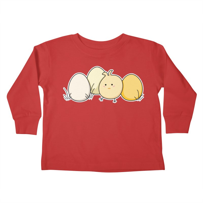 Cute Kawaii Easter Chick and Eggs Kids Toddler Longsleeve T-Shirt by Flaming Imp's Artist Shop