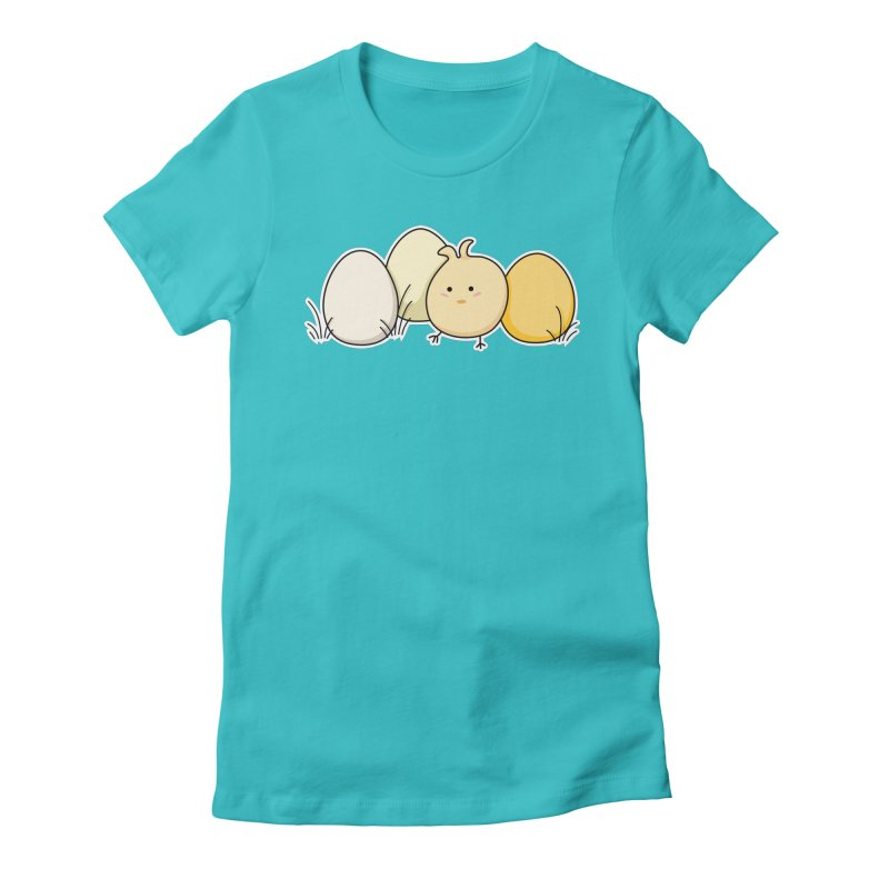 Cute Kawaii Easter Chick and Eggs Women's Fitted T-Shirt by Flaming Imp's Artist Shop