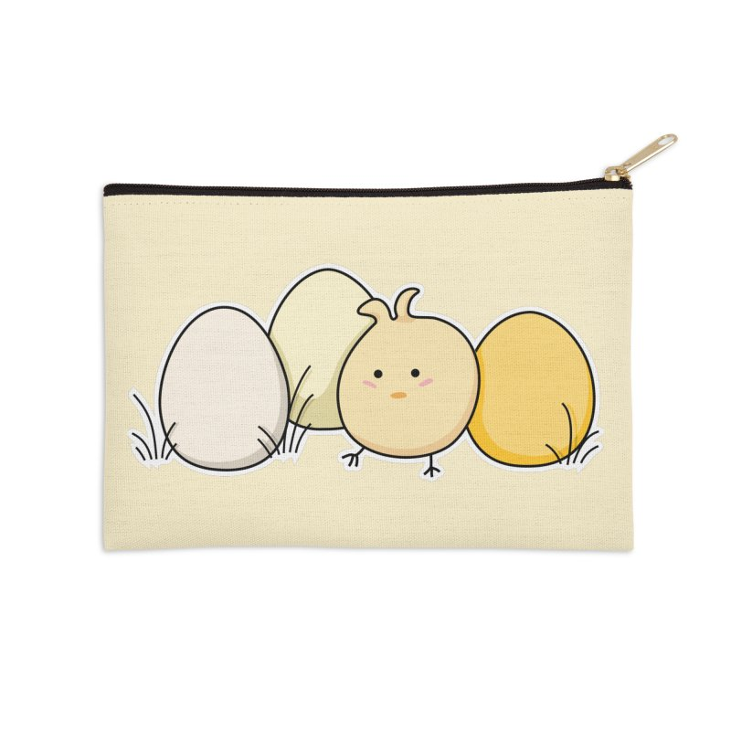 Cute Kawaii Easter Chick and Eggs Accessories Zip Pouch by Flaming Imp's Artist Shop