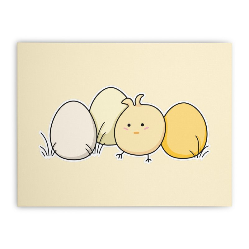 Cute Kawaii Easter Chick and Eggs Home Stretched Canvas by Flaming Imp's Artist Shop