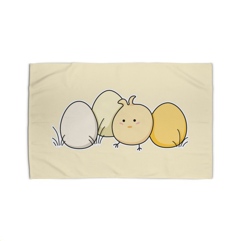 Cute Kawaii Easter Chick and Eggs Home Rug by Flaming Imp's Artist Shop