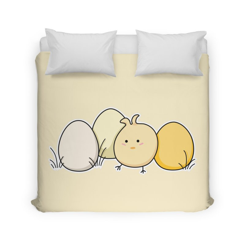 Cute Kawaii Easter Chick and Eggs Home Duvet by Flaming Imp's Artist Shop