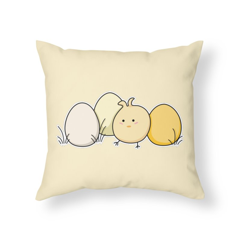 Cute Kawaii Easter Chick and Eggs Home Throw Pillow by Flaming Imp's Artist Shop