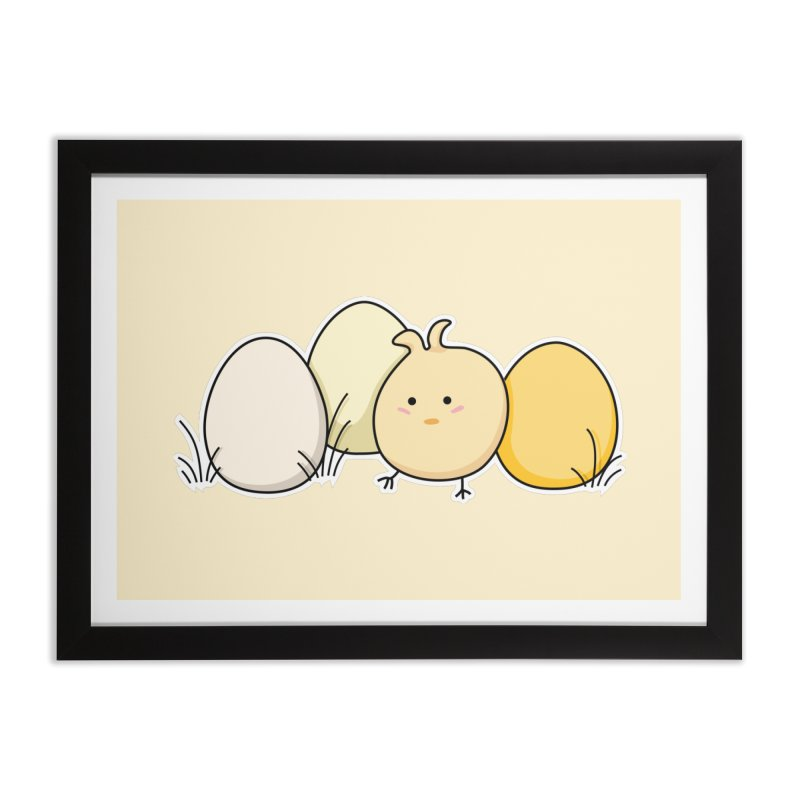Cute Kawaii Easter Chick and Eggs Home Framed Fine Art Print by Flaming Imp's Artist Shop