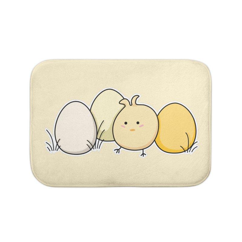 Cute Kawaii Easter Chick and Eggs Home Bath Mat by Flaming Imp's Artist Shop