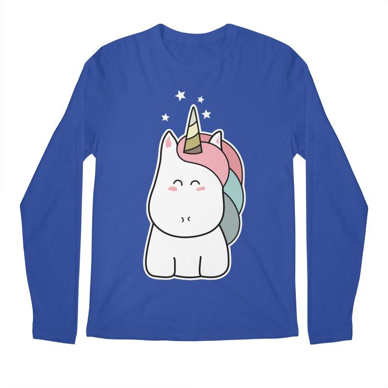 Cute Kawaii Unicorn Men's Longsleeve T-Shirt by Flaming Imp's Artist Shop