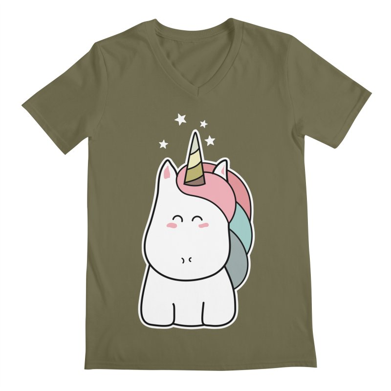 Cute Kawaii Unicorn Men's V-Neck by Flaming Imp's Artist Shop