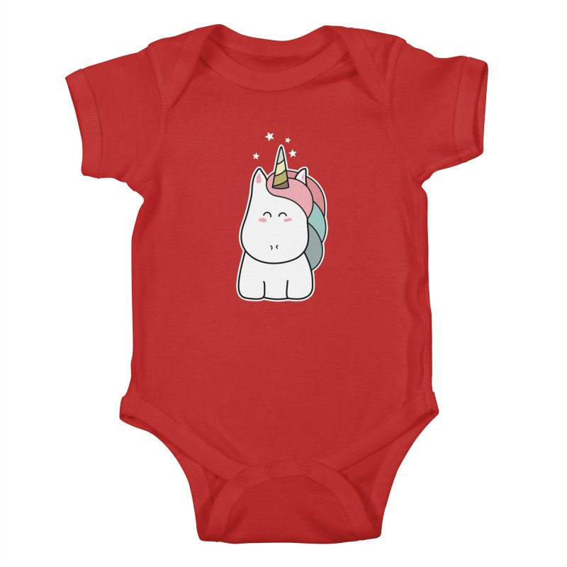Cute Kawaii Unicorn Kids Baby Bodysuit by Flaming Imp's Artist Shop