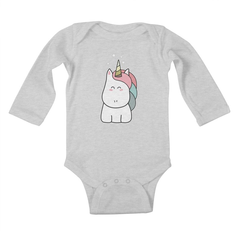 Cute Kawaii Unicorn Kids Baby Longsleeve Bodysuit by Flaming Imp's Artist Shop