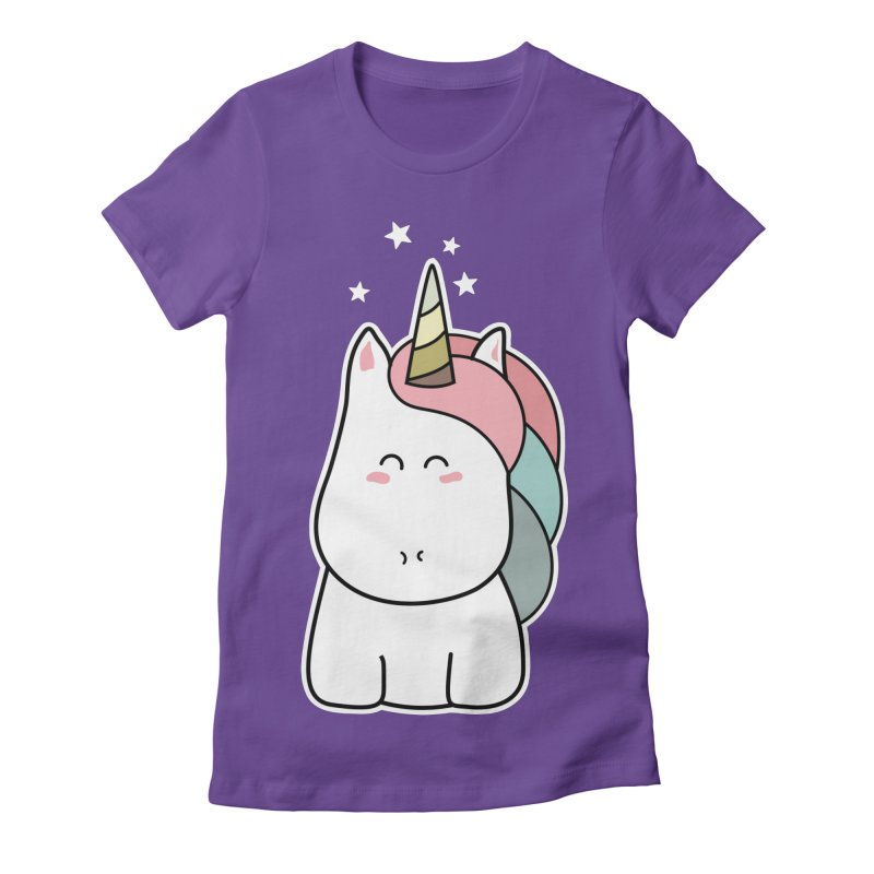 Cute Kawaii Unicorn Women's Fitted T-Shirt by Flaming Imp's Artist Shop