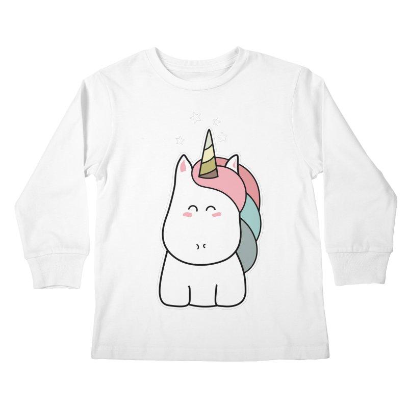 Cute Kawaii Unicorn Kids Longsleeve T-Shirt by Flaming Imp's Artist Shop