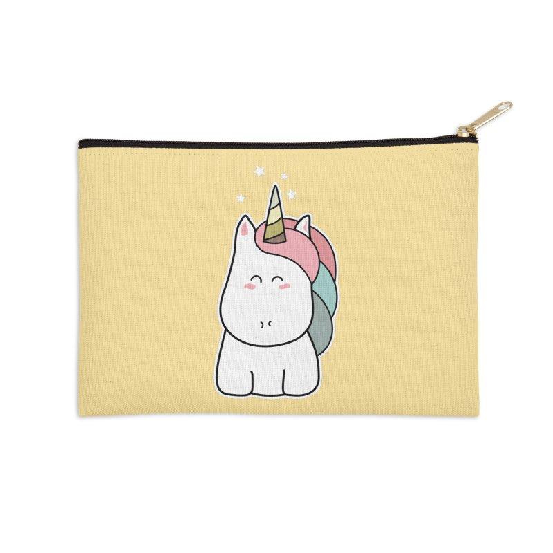 Cute Kawaii Unicorn Accessories Zip Pouch by Flaming Imp's Artist Shop