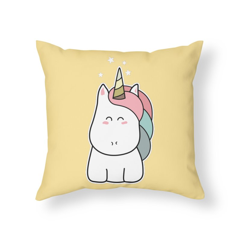 Cute Kawaii Unicorn Home Throw Pillow by Flaming Imp's Artist Shop