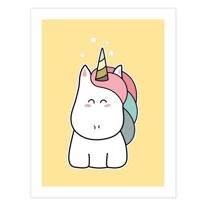 Cute Kawaii Unicorn Home Fine Art Print by Flaming Imp's Artist Shop