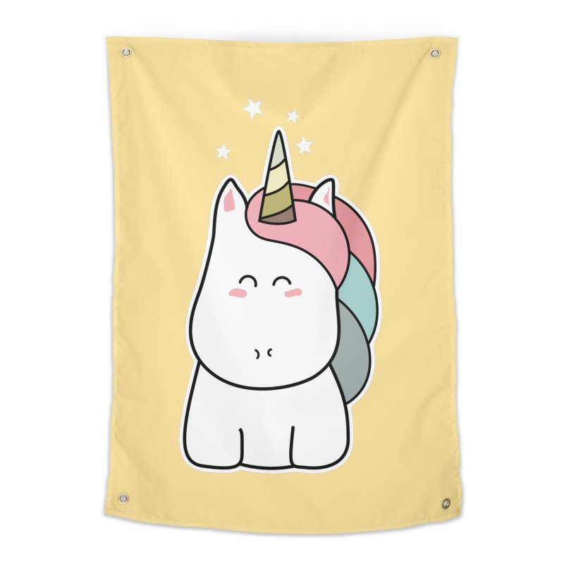Cute Kawaii Unicorn Home Tapestry by Flaming Imp's Artist Shop
