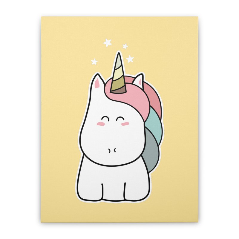 Cute Kawaii Unicorn Home Stretched Canvas by Flaming Imp's Artist Shop