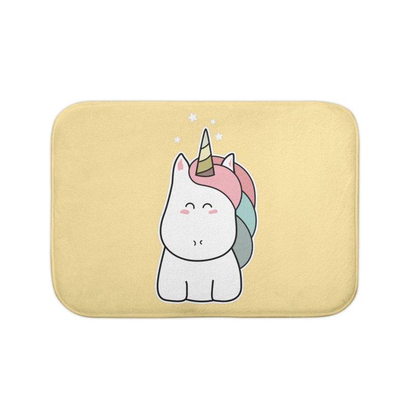 Cute Kawaii Unicorn Home Bath Mat by Flaming Imp's Artist Shop