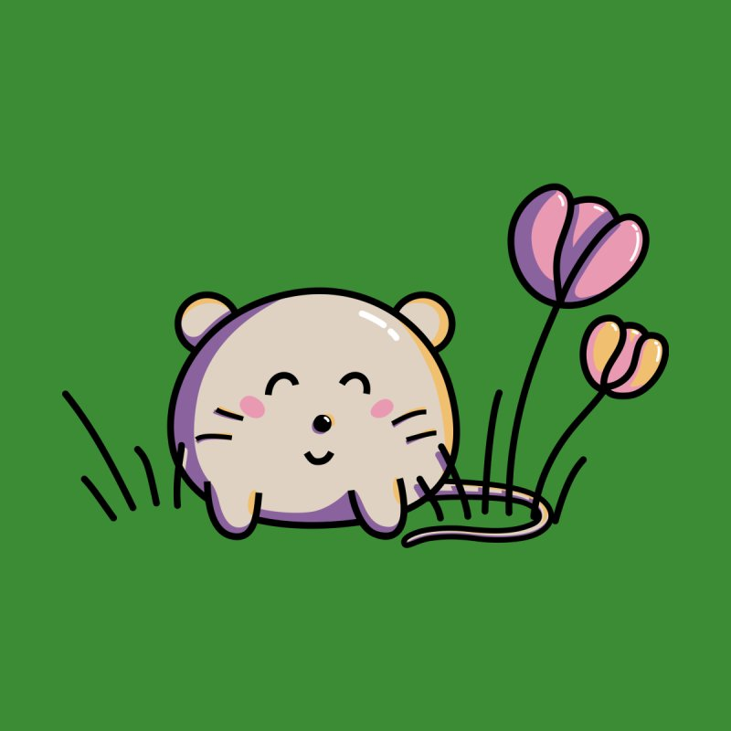 Cute Kawaii Spring Mouse and Flowers None  by Flaming Imp's Artist Shop