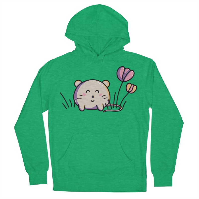 Cute Kawaii Spring Mouse and Flowers Women's Pullover Hoody by Flaming Imp's Artist Shop