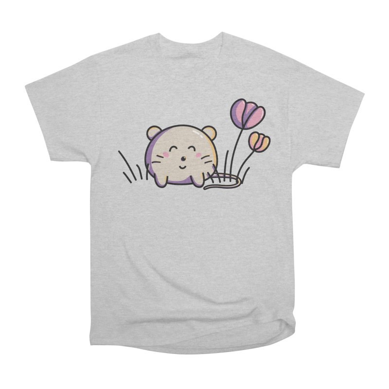 Cute Kawaii Spring Mouse and Flowers Women's Heavyweight Unisex T-Shirt by Flaming Imp's Artist Shop