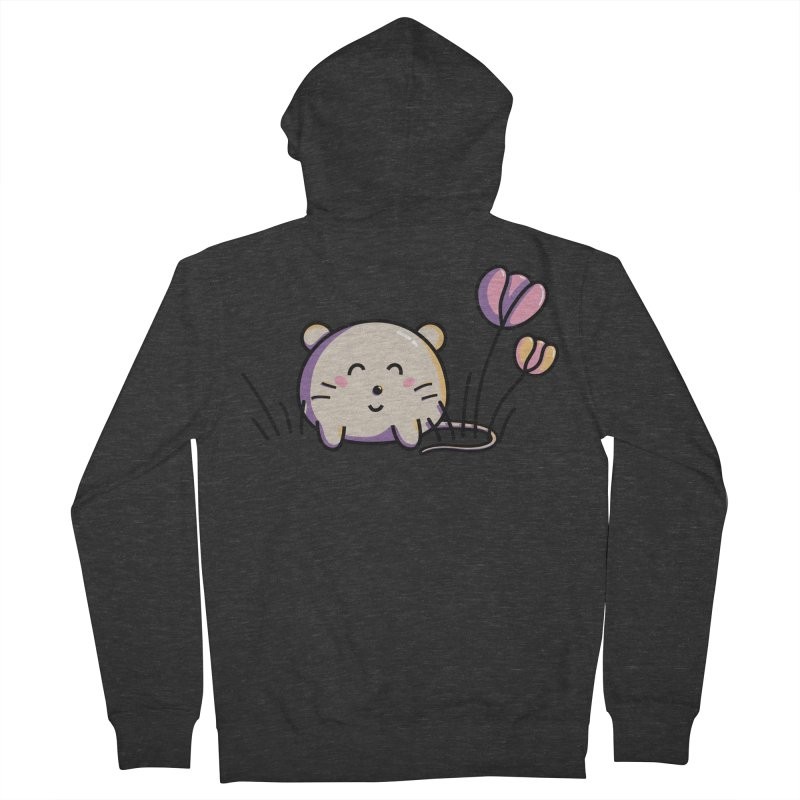 Cute Kawaii Spring Mouse and Flowers Men's Zip-Up Hoody by Flaming Imp's Artist Shop