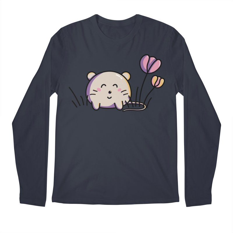 Cute Kawaii Spring Mouse and Flowers Men's Longsleeve T-Shirt by Flaming Imp's Artist Shop