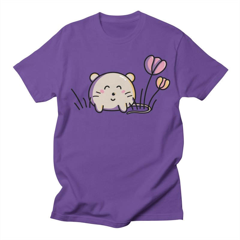 Cute Kawaii Spring Mouse and Flowers Women's Unisex T-Shirt by Flaming Imp's Artist Shop