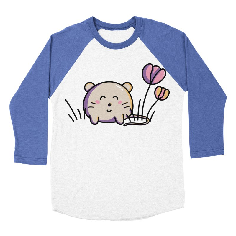 Cute Kawaii Spring Mouse and Flowers Women's Baseball Triblend T-Shirt by Flaming Imp's Artist Shop