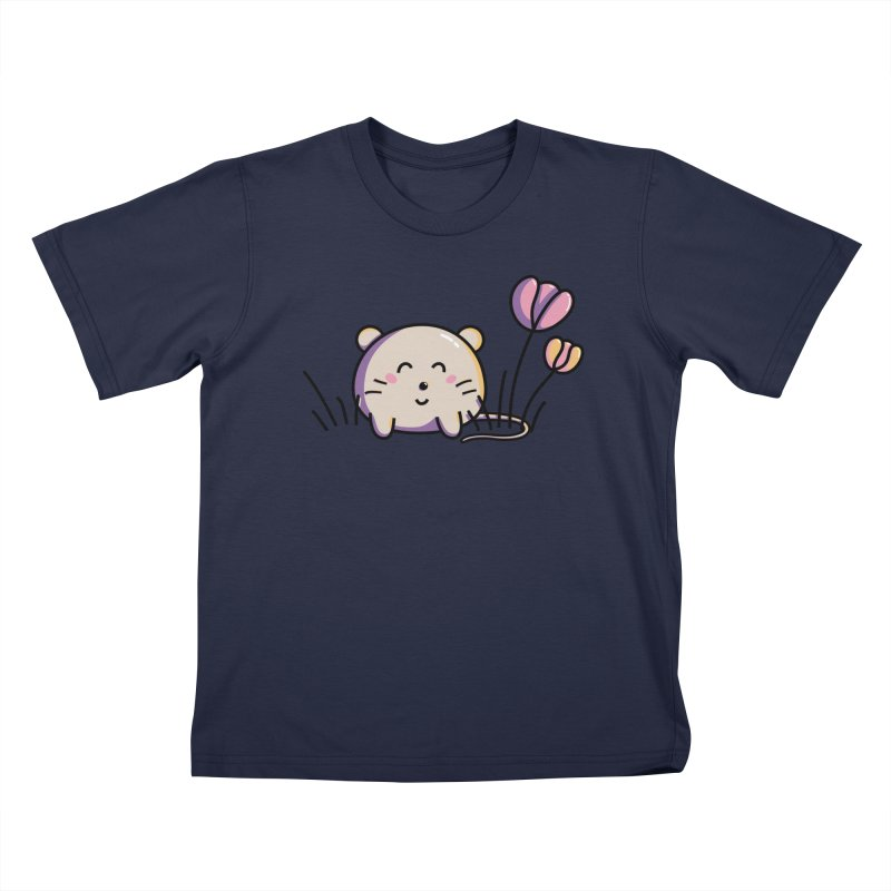 Cute Kawaii Spring Mouse and Flowers Kids T-Shirt by Flaming Imp's Artist Shop