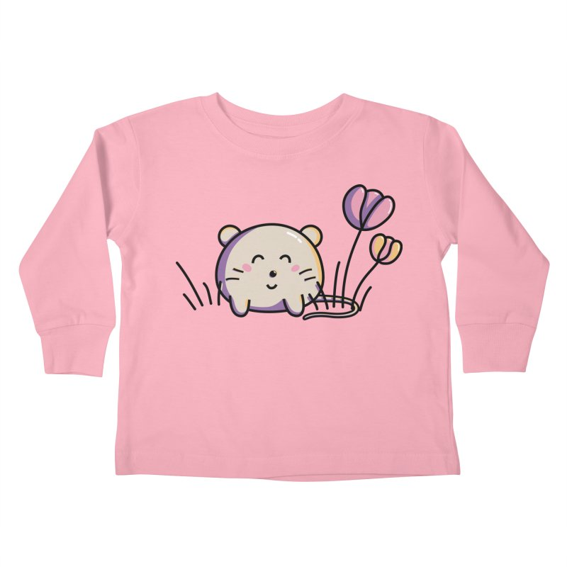 Cute Kawaii Spring Mouse and Flowers Kids Toddler Longsleeve T-Shirt by Flaming Imp's Artist Shop
