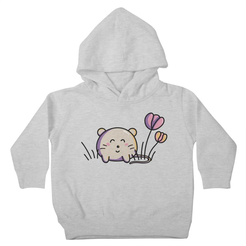 Cute Kawaii Spring Mouse and Flowers Kids Toddler Pullover Hoody by Flaming Imp's Artist Shop