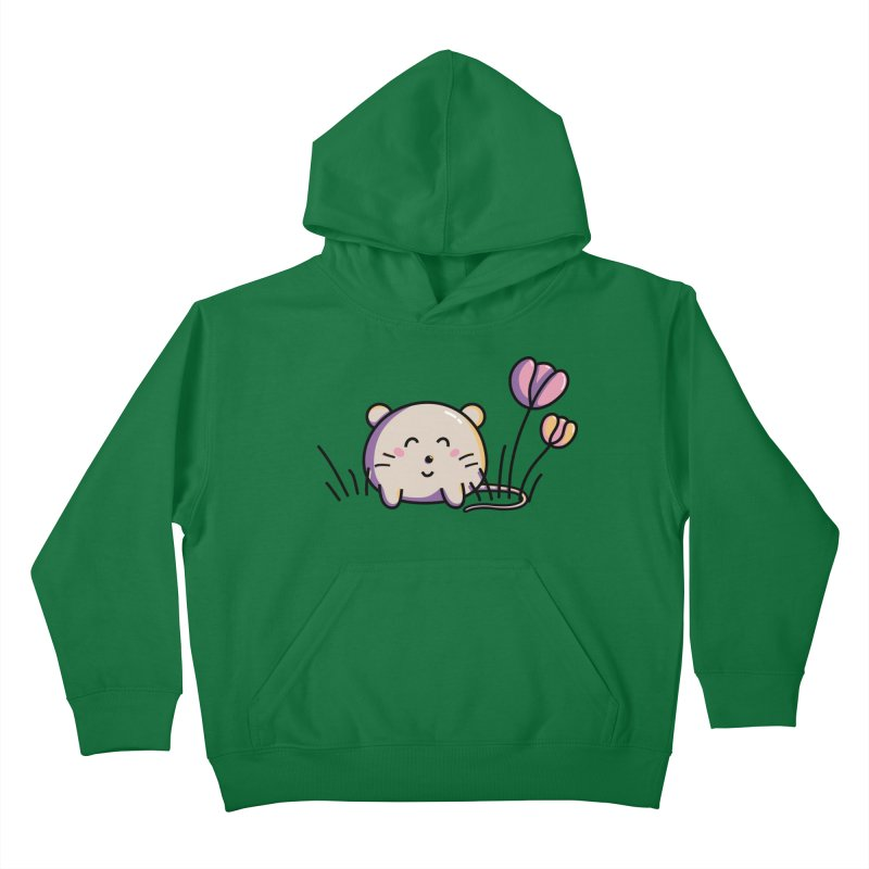 Cute Kawaii Spring Mouse and Flowers Kids Pullover Hoody by Flaming Imp's Artist Shop