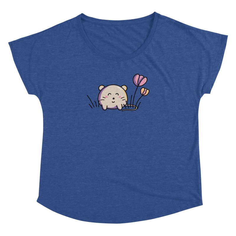 Cute Kawaii Spring Mouse and Flowers Women's Dolman by Flaming Imp's Artist Shop