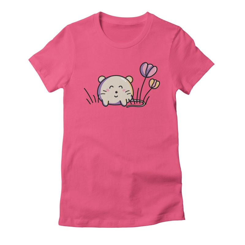 Cute Kawaii Spring Mouse and Flowers Women's Fitted T-Shirt by Flaming Imp's Artist Shop