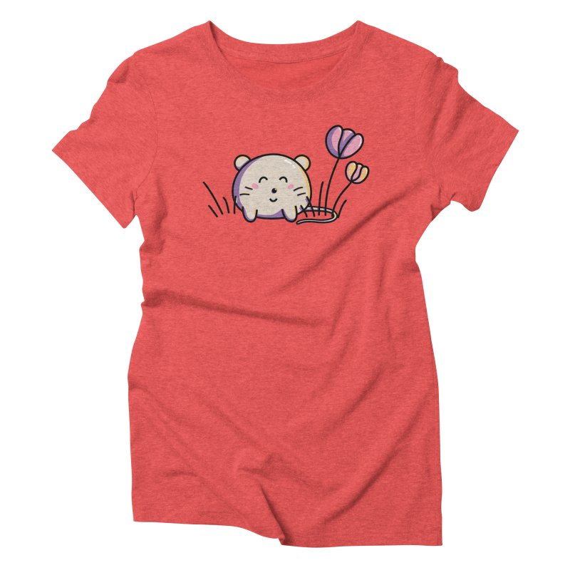 Cute Kawaii Spring Mouse and Flowers Women's Triblend T-Shirt by Flaming Imp's Artist Shop