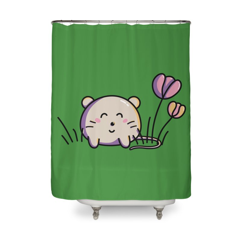 Cute Kawaii Spring Mouse and Flowers Home Shower Curtain by Flaming Imp's Artist Shop