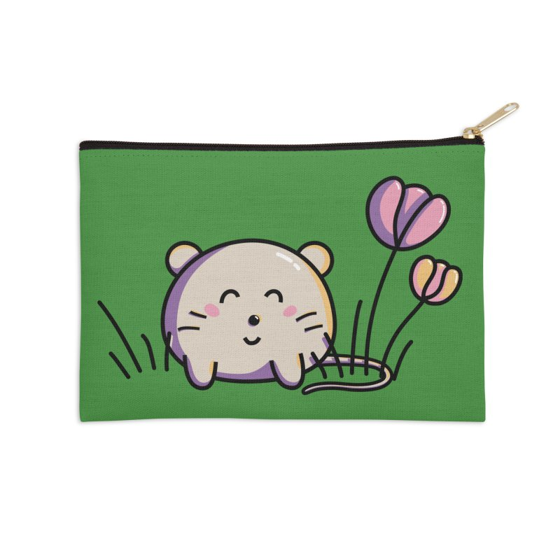 Cute Kawaii Spring Mouse and Flowers Accessories Zip Pouch by Flaming Imp's Artist Shop