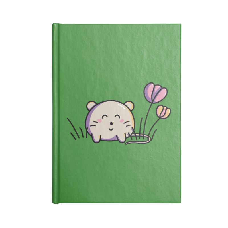Cute Kawaii Spring Mouse and Flowers Accessories Notebook by Flaming Imp's Artist Shop