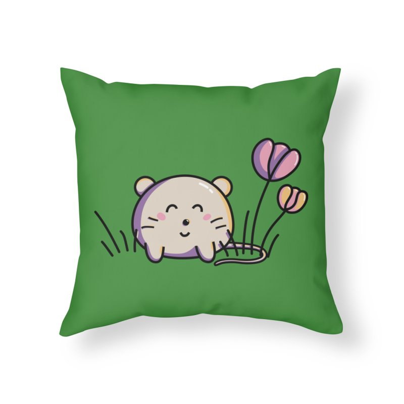 Cute Kawaii Spring Mouse and Flowers Home Throw Pillow by Flaming Imp's Artist Shop